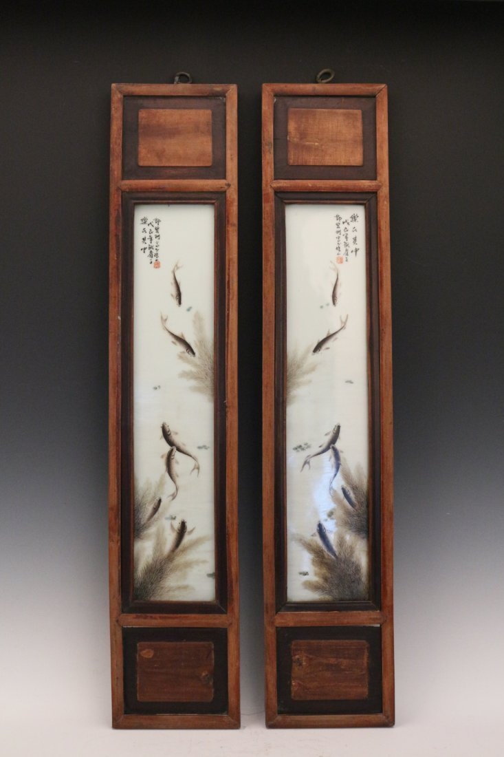 Two Porcelain Painting with Hardwood Frame