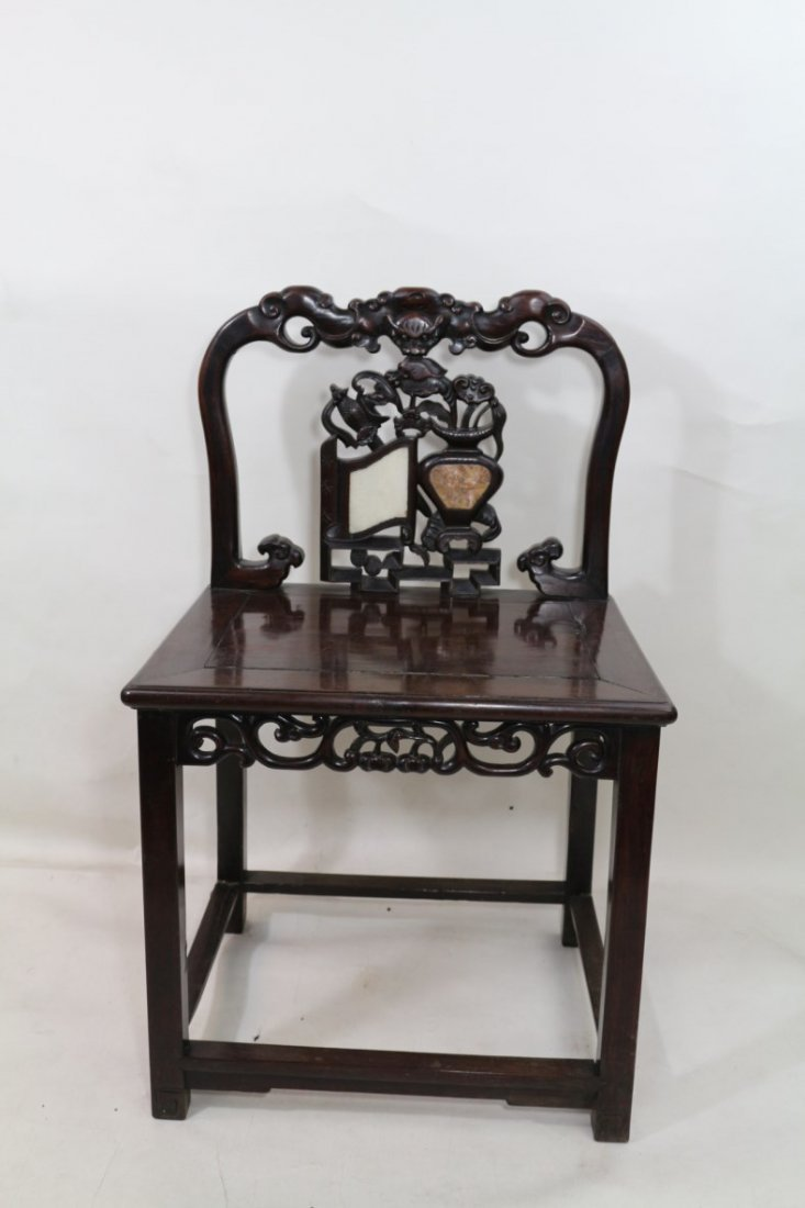 Chinese Rosewood Chair with Marble Inlay