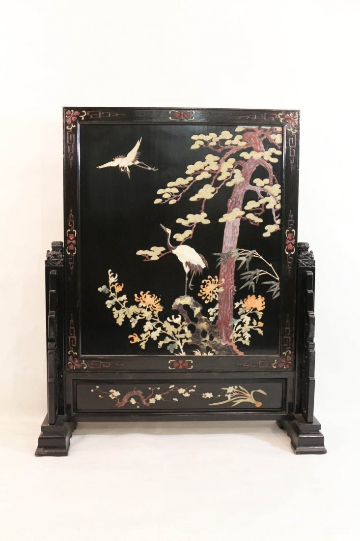 A Chinese Lacquered Wooden Table Screen
