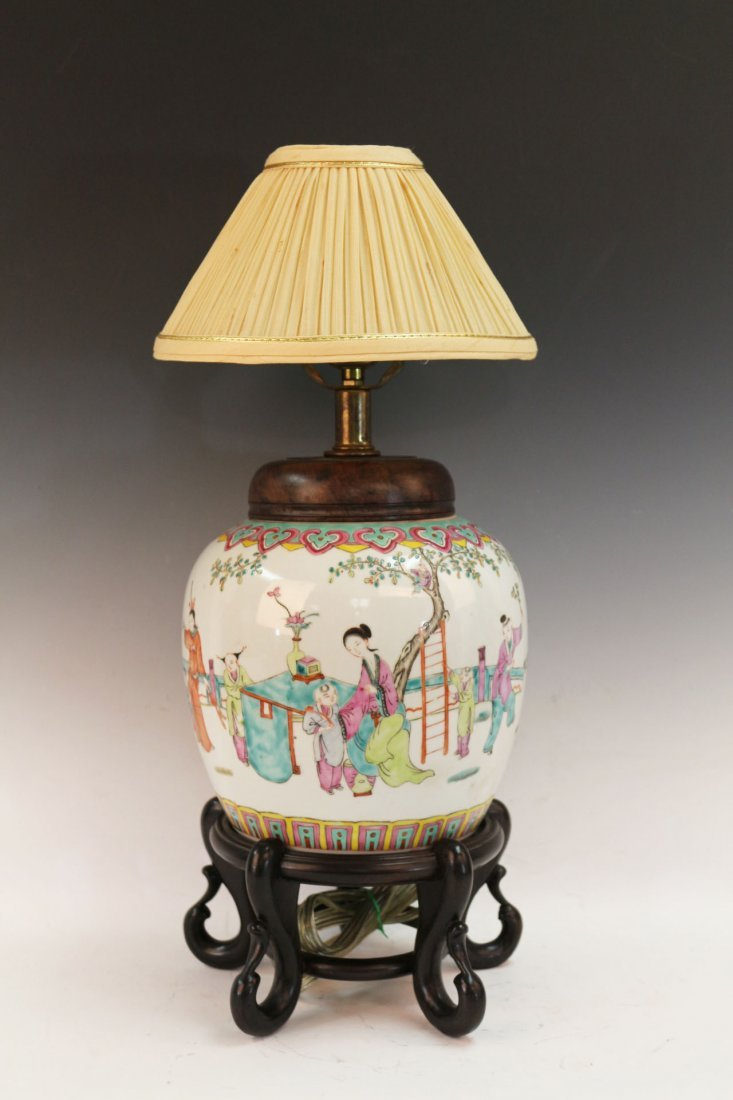 Chinese Famille Rose Porcelain Table Lamp