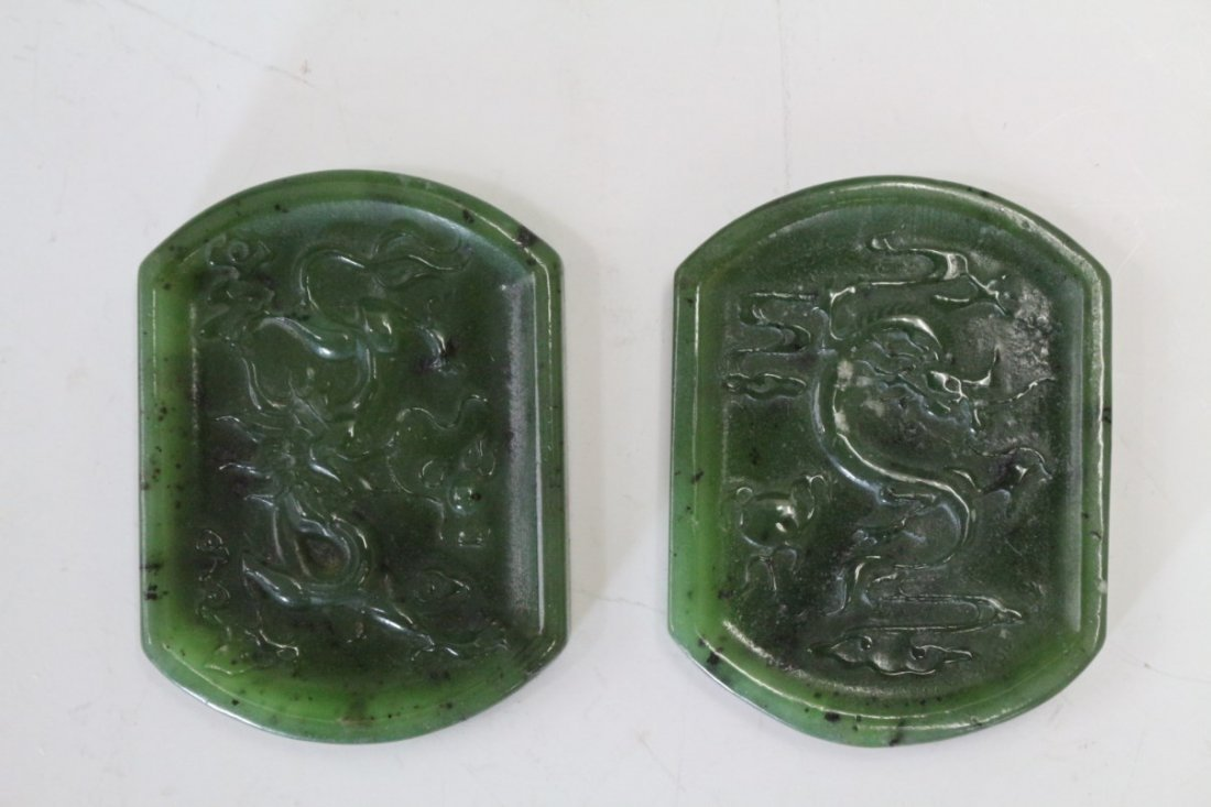 Two Chinese Carved Spinch Jade Pendant Plaque