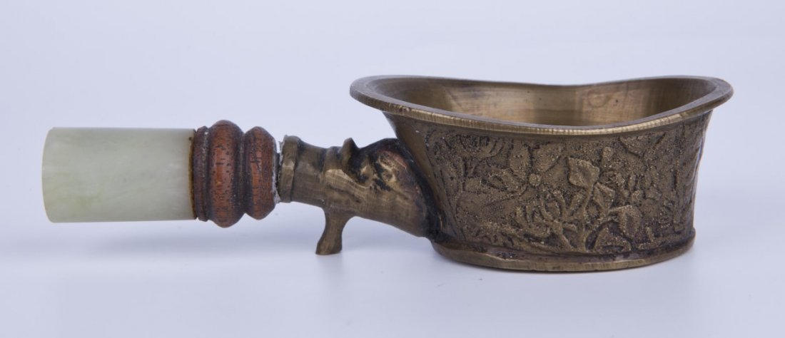Antique Chinese metal work cup with rose garden