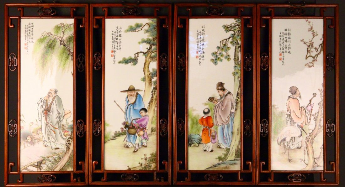 Four Panels Porcelain Painting Plaque