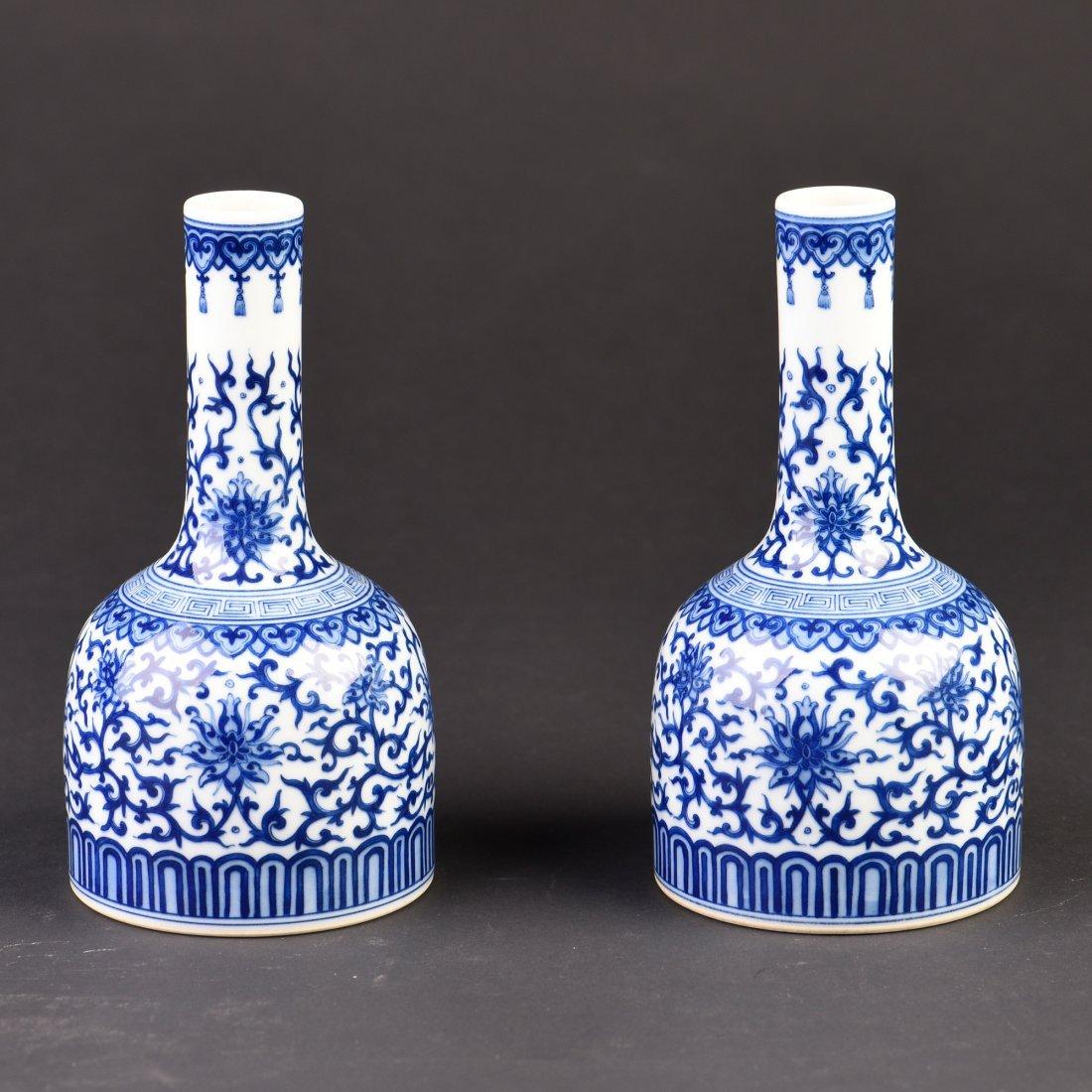 Pair of Blue and White Porcelain Vase