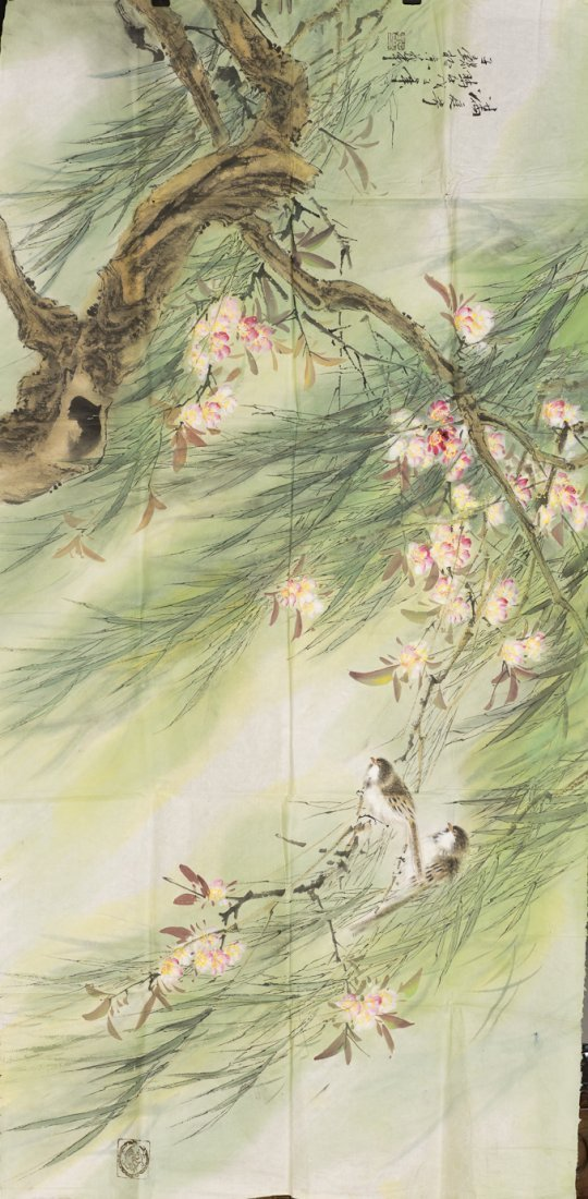 A CHINESE PAINTING OF A YARD OF FLOWERS