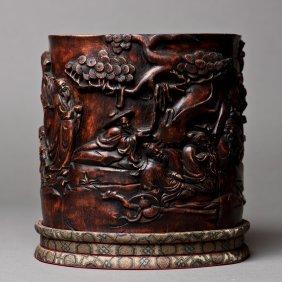 A Chinese Chenxiang Brush Pot