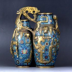 A Closonne Double Vase