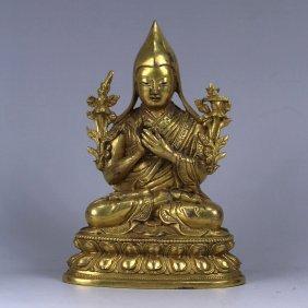 A Gilt Sculpture Of Tsongkhapa