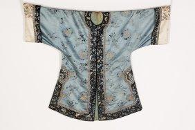 A Qing-style Female Light Blue Overcoat