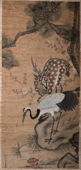 A Chinese Scroll Painting Of Deer And Crane Motif