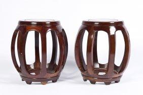 Pair Of Hardwood Lantern Chairs
