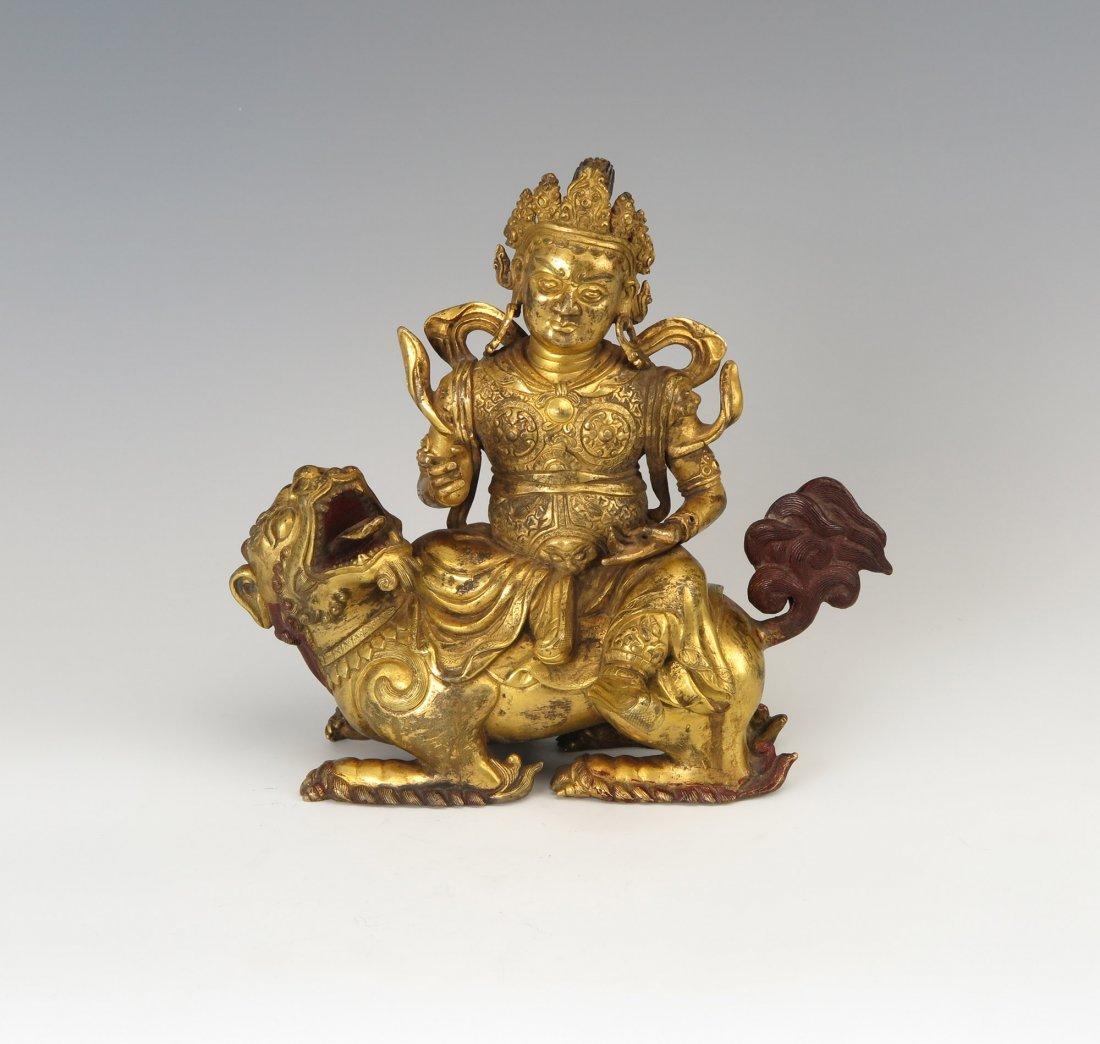 A Gilt-Bronze Color Agarwood Carving of a Bodhisattva