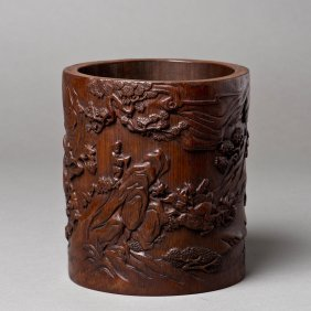 A Chinese Bamboo Brush Pot Of Deer Motif