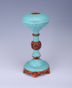 Chinese Turquoise Green Official Hat Rack