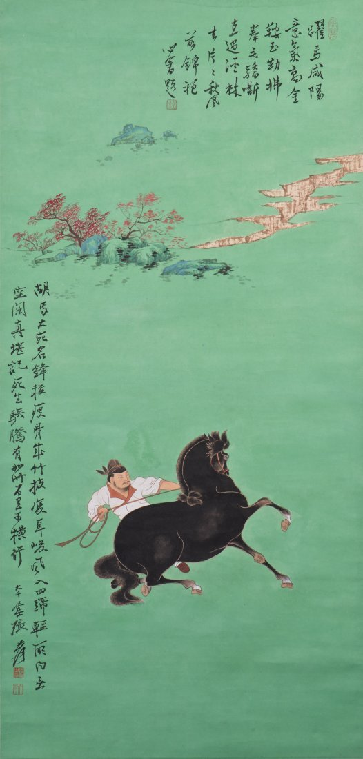 A CHINESE SCROLL PAINTING, AFTER PU XINYU