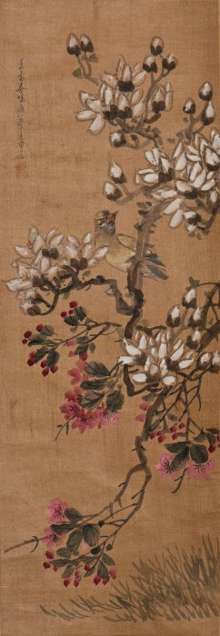 A Chinese Scroll Painting Of Floral Motif