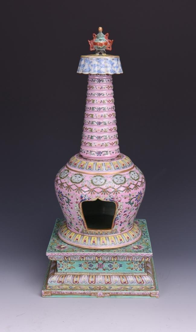 A FAMILLE ROSE BUDDHIST EMBLEM PAGODA