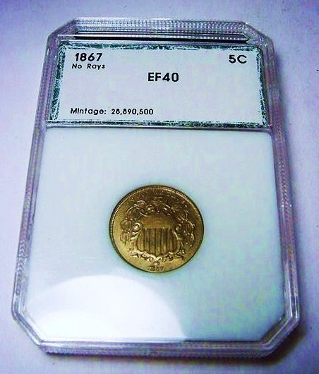 1867 SHIELD NICKEL PCI CERTIFIED EXTRA FINE