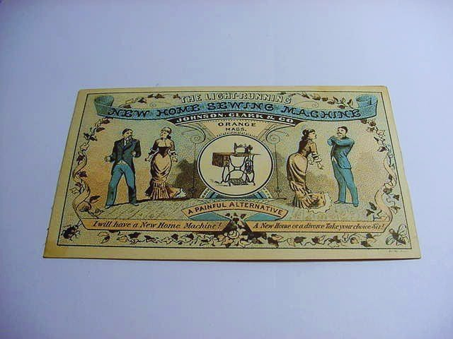 VINTAGE NEW HOME SEWING MACHINE ADVERTISING CARD