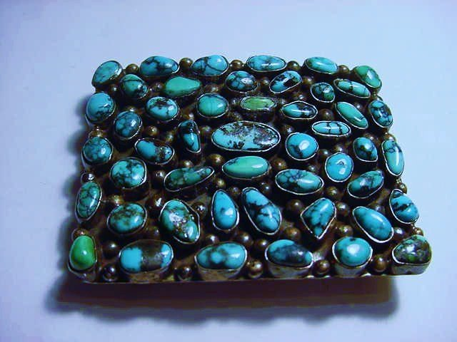 SIGNED NAVAJO STERLING TURQUOISE BELT BUCKLE
