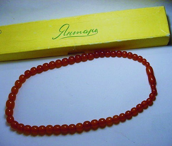 VINTAGE RUSSIAN AMBER NECKLACE