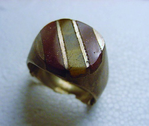 VINTAGE STERLING INLAID STONE RING SIZE  9