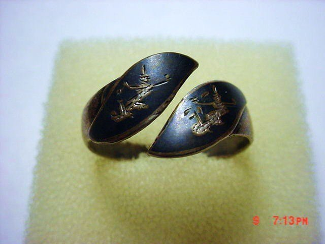 VINTAGE SIAM STERLING NIELLO RING  SIZE  9