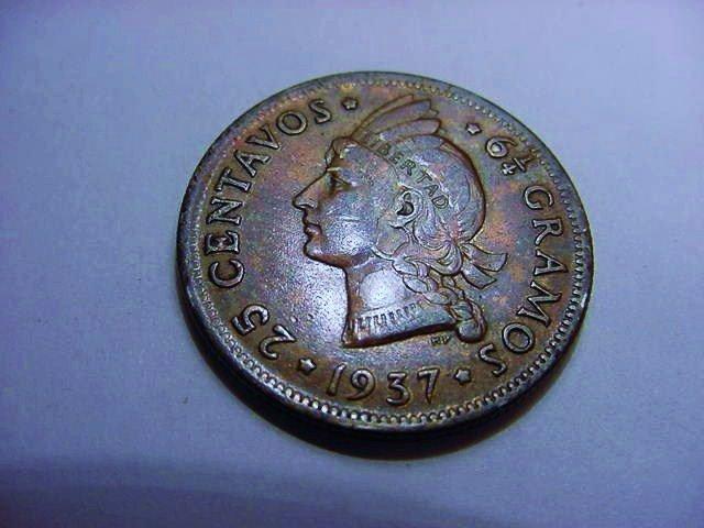 1937 DOMINICAN REPUBLIC 25 CENTAVOS