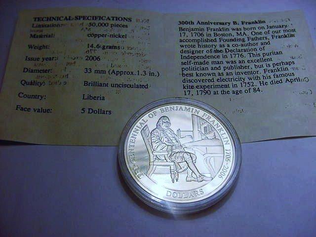 2006 LIBERIA 5 DOLLARS GEM B.U.