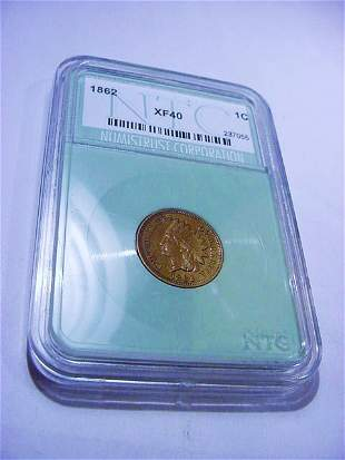 1862 INDIAN CENT NTC EXTRA FINE 40