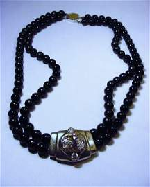 SIGNED STERLING ONYX CZ NECKLACE