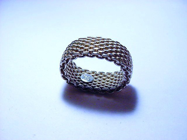 TIFFANY STERLING MESH RING SIZE   7.5