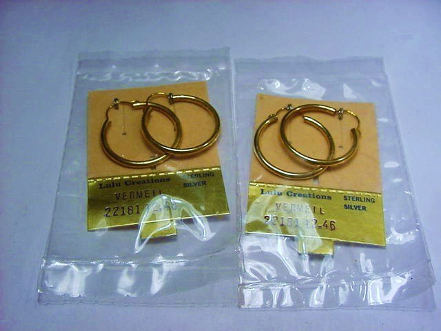 [2] PAIRS GOLD GILT STERLING EARRINGS