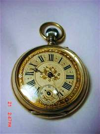 ANTIQUE SWISS SILVER POCKET WATCH  WORKS