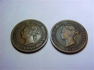 1886 & 1895 CANADA VICTORIA LARGE CENTS