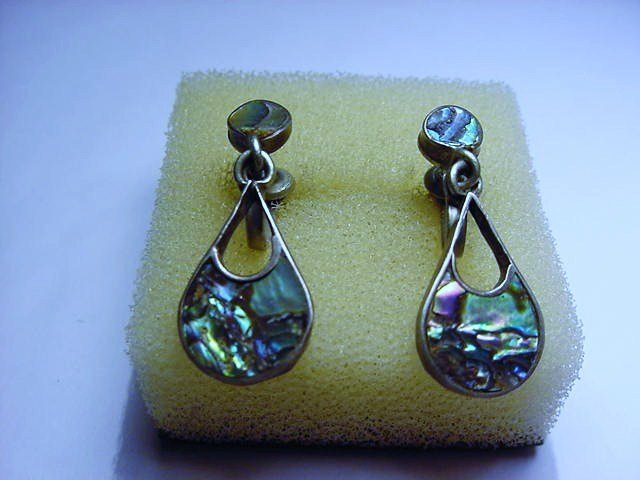 SIGNED MEXICAN STERLING ABALONE EARRINGS
