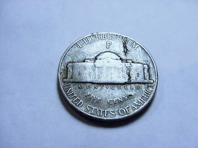1943-P SILVER WARNICKEL LAMINATION ERROR