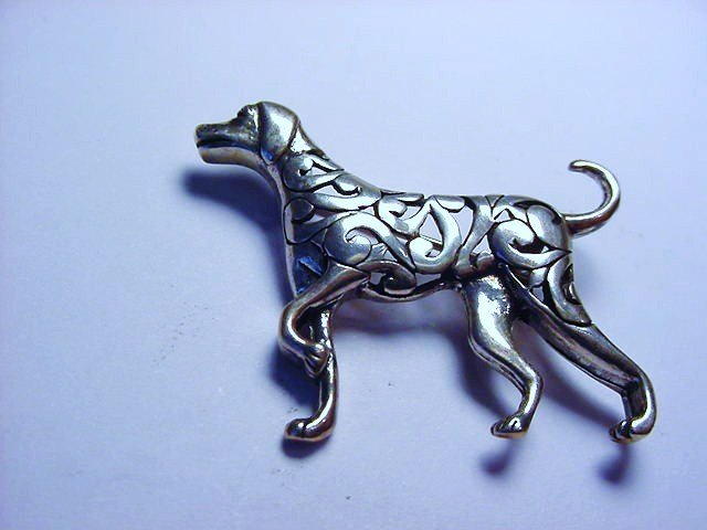 SIGNED STERLING DOG PIN