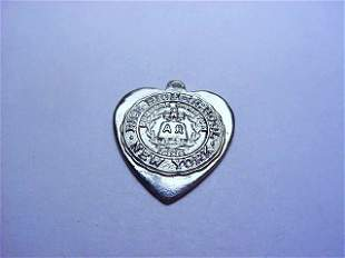 RICE HIGH SCHOOL NY STERLING HEART PENDANT