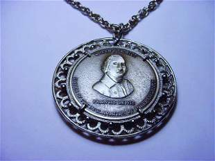 FRANCIS LEWIS STERLING MASONIC MEDAL NECKLACE