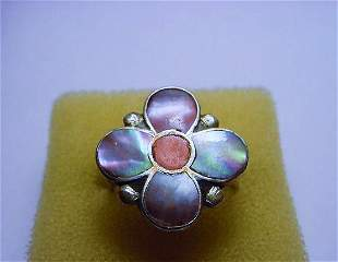 SILVER ABALONE RING SIZE 7.5