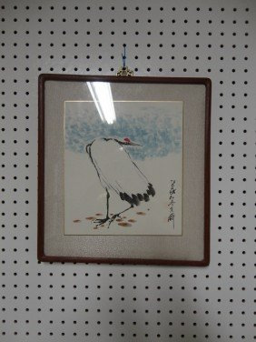 Chinese Framed Painting Of Crane
