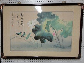 14: Chinese framed lotus watercolor painting