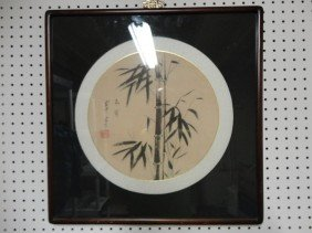 15: Chinese school framed bamboo painting