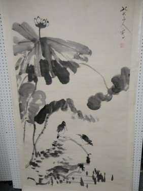 22: Huge Chinese scroll of Birds and Lotus