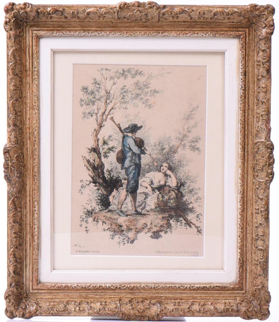 Francesco Bartolozzi Colored Etching Dated 1793.