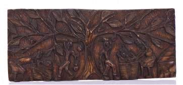 Vintage Haitian Wood Carved Plaque Size 115 x 2