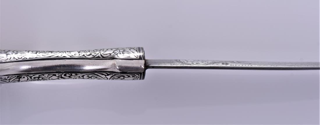 Antique Damascus Steel Blade Dagger With Sterling - 6