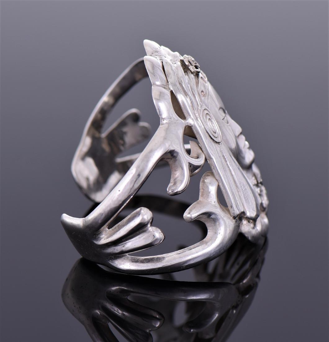 Art Deco Diamond Sterling Silver Cuff Bracelet of - 2