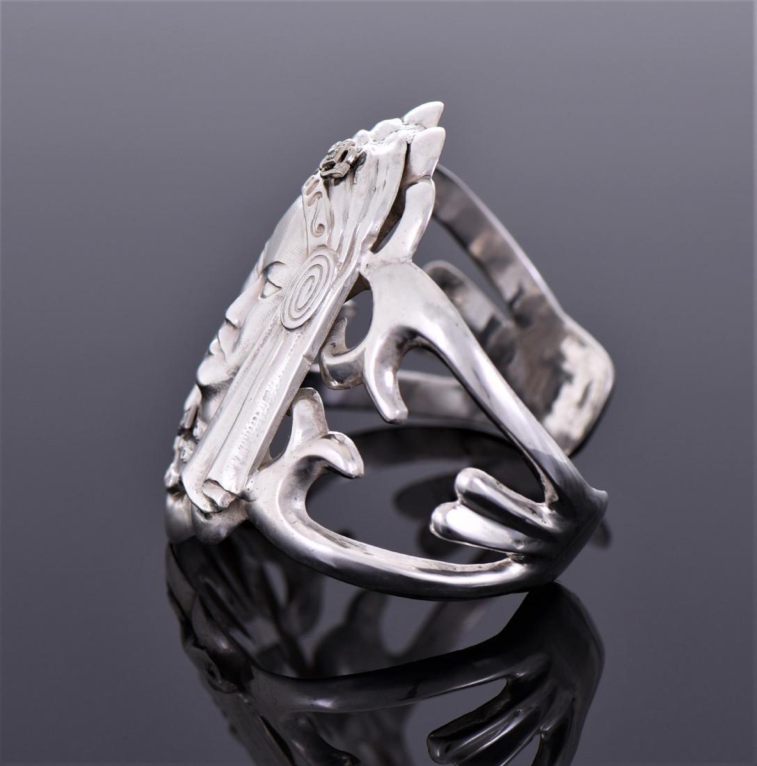 Art Deco Diamond Sterling Silver Cuff Bracelet of - 3